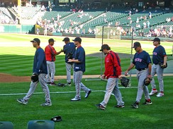 Pitchers (left–right) Josh Beckett, Jon Lester, Éric Gagné, pitching coach John Farrell and Curt Schilling, prior to a Red Sox game at Seattle in August 2007