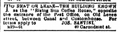 "1867 ad noting the ""Rising Sun Coffee House"" building for rent or lease"