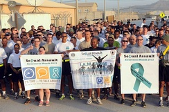 U.S. troops in Afghanistan hold a 5K run/walk for Sexual Assault Awareness Month.