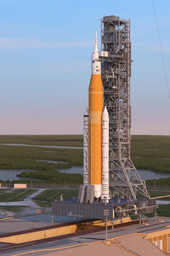 The United States' planned Space Launch System concept art