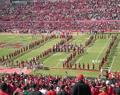 The Spirit of Houston Cougar Marching Band during a pre-game show at Robertson Stadium