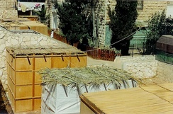 External aerial view of Sukkah booths where Jewish families eat their meals and sleep throughout the Sukkot holiday