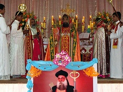 An Eastern Catholic bishop of the Syro-Malankara Catholic Church celebrating Qurbono Qadisho in West Syriac