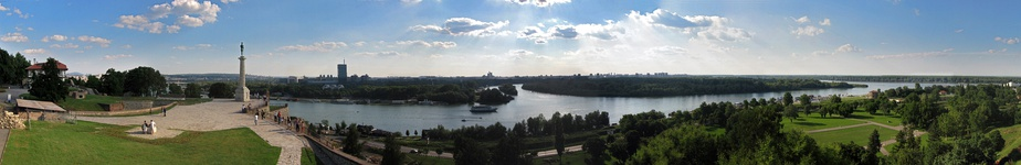 The confluence of the Sava into the Danube at Belgrade. Pictured from Belgrade Fortress, Serbia
