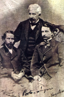 From left to right: Dias, Manuel de Araújo Porto-Alegre and Gonçalves de Magalhães, on a picture dating from circa 1858