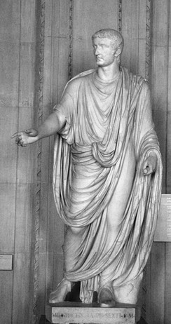 Statue of the Emperor Tiberius showing the draped toga of the 1st century AD