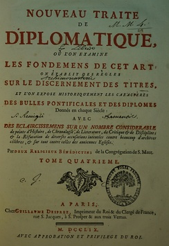 Title page of Volume 4 of Tassin and Toustain's Nouveau traité de diplomatique (1759)