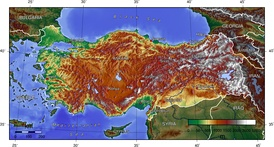Topographic map of Turkey