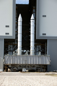 Two Space Shuttle SRBs on the Crawler transporter.jpg