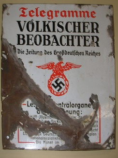 Metal advertising sign for the Völkischer Beobachter