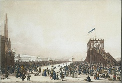 Ice slides and other attractions on the field in the 1820s