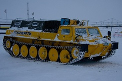 A Russian tracked vehicle designed to operate on snow and swamps