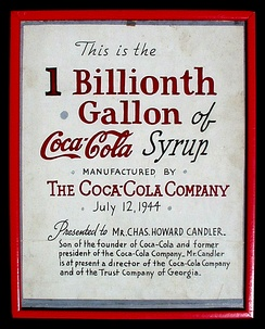"Original framed Coca-Cola artist's drawn graphic presented by The Coca-Cola Company on July 12, 1944 to Charles Howard Candler on the occasion of Coca-Cola's ""1 Billionth Gallon of Coca-Cola Syrup."""