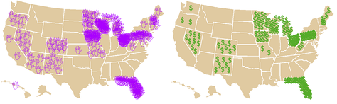 These maps show the amount of attention given by the campaigns to the close states. At left, each waving hand represents a visit from a presidential or vice-presidential candidate during the final five weeks. At right, each dollar sign represents one million dollars spent on TV advertising by the campaigns during the same time period.
