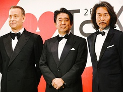 Hanks and Japanese Prime Minister Shinzo Abe at the Tokyo International Film Festival