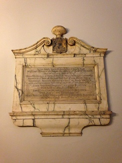 Memorial to the 3rd Duke of Portland at the family vault in St Marylebone Parish Church