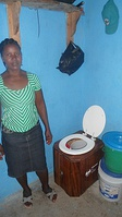 Example of a urine-diverting dry toilet in a cholera-affected area in Haiti.  This type of toilet stops transmission of disease via the fecal-oral route due to water pollution.
