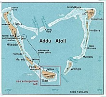Map of Addu Atoll showing Gan and airfield