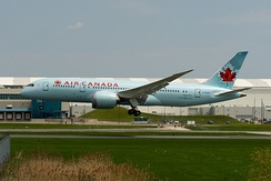 Air Canada's first 787-8 touching down at Toronto Pearson International Airport during a post-delivery test flight