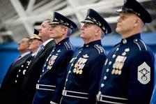 Gen. Norton Schwartz, Gen. Mark Welsh III and Chief Master Sergeant of the Air Force James A. Roy wearing command ceremonial uniforms in 2012