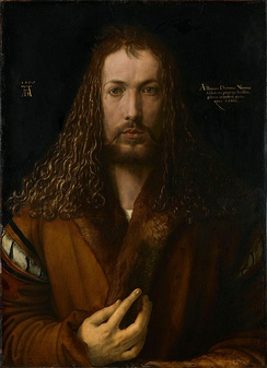 Dürer's self-portrait at 28 (1500). Alte Pinakothek, Munich.
