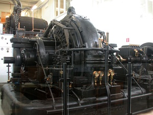 An Alexanderson alternator, a huge rotating machine used as a radio transmitter at very low frequemcy from about 1910 until World War 2