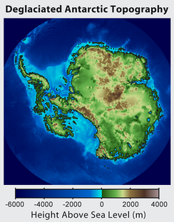 Topographic map of Antarctica after removing the ice sheet and accounting for both isostatic rebound and sea level rise. Hence, this map suggests what Antarctica may have looked like 35 million years ago, when the Earth was warm enough to prevent the formation of large-scale ice sheets in Antarctica.