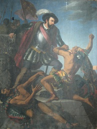 Hernan Cortés fight with two Indians.