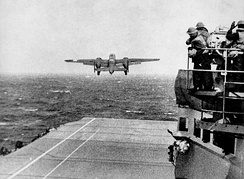 A B-25 bomber takes off from USS Hornet as part of the Doolittle Raid.