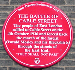 Plaque commemorating the Battle of Cable Street