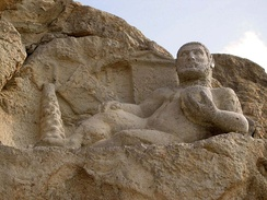 Hellenistic-era depiction of Bahram as Hercules carved in 153 BC.