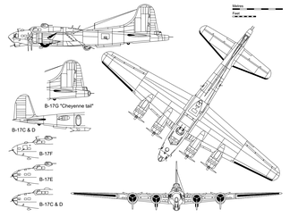 "3-view projection of a B-17G, with inset detail showing the ""Cheyenne tail"" and some major differences with other B-17 variants"