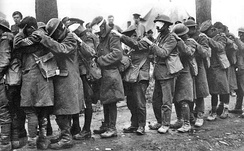 British 55th Division soldiers, blinded by tear gas during the Battle of Estaires, 10 April 1918