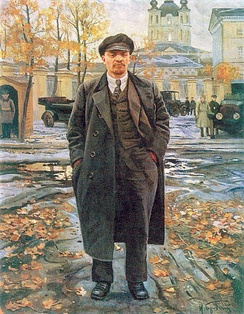 Painting of Lenin in front of the Smolny Institute by Isaak Brodsky