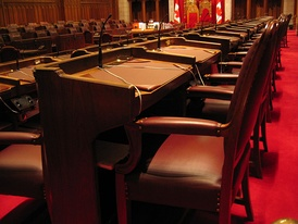 The Senate Chamber of Parliament Hill in Ottawa.