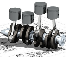 An oblique view of a four-cylinder inline crankshaft with pistons
