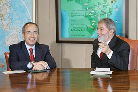 Felipe Calderon and Luiz Inácio Lula da Silva, president of Brazil (right).