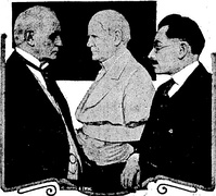 Champ Clark examining marble bust of himself, made by Moses Wainer-Dykaar (also in illustration)