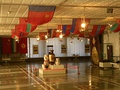 A hall in Bishkek's Soviet-era Lenin Museum decorated with the flags of Soviet Republics