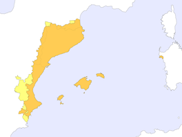 Catalan Countries (Països Catalans): (In orange, strict Catalan-speaking area) NE modern Spain (Catalonia, Valencian Community and Balearic Islands), SE. France (Roussillon, touching the Pyrenees) and Comune of Alghero (NW coast of Sardinia, Island belonging to Italy)