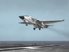 A US Navy F-111B approaching the aircraft carrier USS Coral Sea during trials in 1968