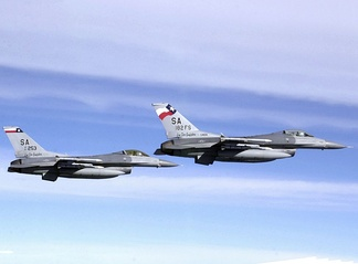 F-16C Block 25F/30F Fighting Falcon fighters (s/n 85-1403, 87-0253) from the 182d Fighter Squadron, 149th Fighter Wing, Texas Air National Guard.