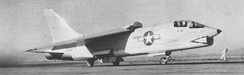 "F8U-1 Crusader BuNo 141435 and Commander ""Duke"" Windsor depart China Lake for a successful speed record attempt, 21 August 1956."