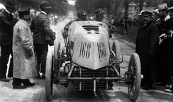 Fernand Gabriel driving a Mors in Paris-Madrid 1903