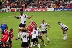 The Fiji national rugby union team during the 2007 Rugby World Cup playing against Canada
