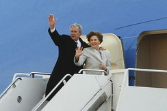 George and Laura Bush waving to a crowd of 1000 at Andrews Air Force Base before their final departure to Texas, January 20, 2009