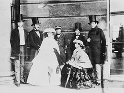 The King of the Belgians and the Royal family with Queen Victoria ca. 1859