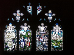 Stanberry Window (1923) in Hereford Cathedral, showing Bishop John Stanberry advising King Henry VI on the founding of Eton College