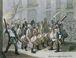 Morgenstreich celebrated at Basler Fasnacht (1843)