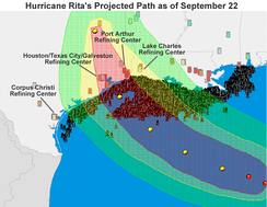 Projected path of Hurricane Rita on September 22 highlighting refineries and oil rigs across southeast Texas and southern Louisiana.